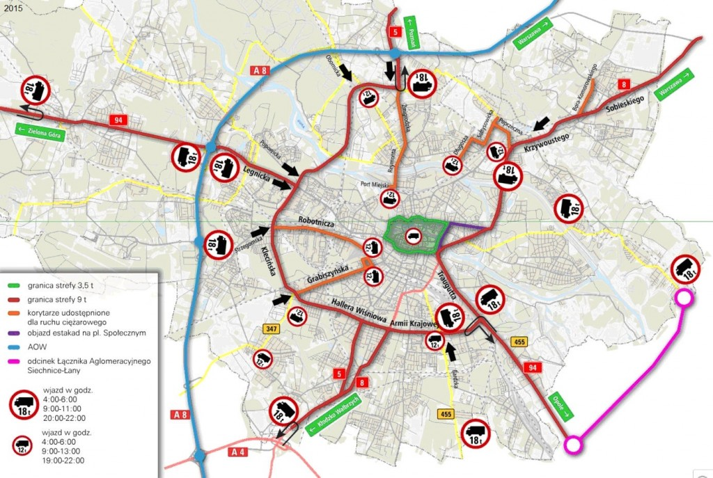 Ograniczenia w  ruchu ciężarówek Wrocław