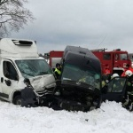 Wypadek dwóch dostawczaków w Lechowie.